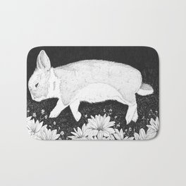 bunny in black and white Bath Mat
