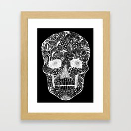 Human skull with hand- drawn flowers, butterflies, floral and geometrical patterns Framed Art Print
