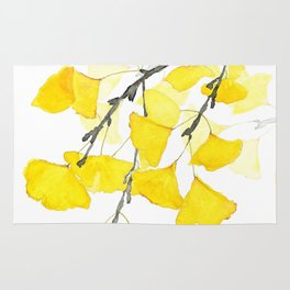 Golden Ginkgo Leaves Rug