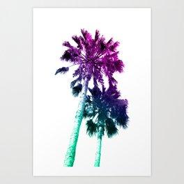 Retro Vintage Ombre Pop Art Los Angeles, Southern California Palm Tree Colored Print Art Print