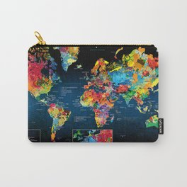 World Map Black - 2 Carry-All Pouch