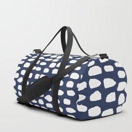 Dots / Navy Duffle Bag