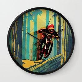 RETRO MOUNTAIN BIKE POSTER LOG JUMPER Wall Clock