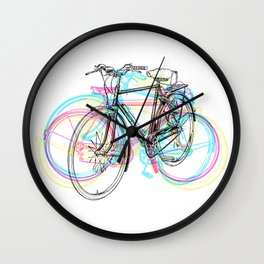 Artistic modern pink teal abstract bicycles art Wall Clock