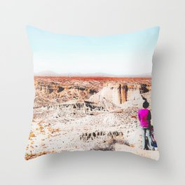 Desert with blue sky in summer in California, USA Throw Pillow