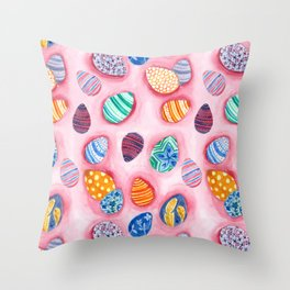 Easter Egg Watercolor Pattern Painting Throw Pillow