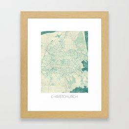 Christchurch Map Blue Vintage Framed Art Print