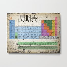 Japan Japanese Periodic Table Of The Elements Vintage Chart Silver Metal Print