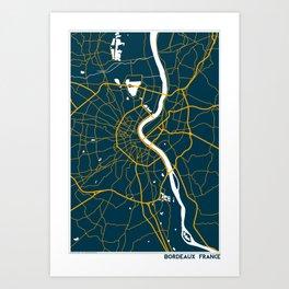 Bordeaux France Map Art Print