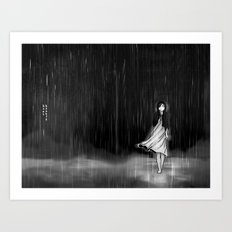 ... as the rain fell on me Art Print