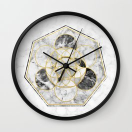 Marble & Gold Geometry / Heptagon Wall Clock