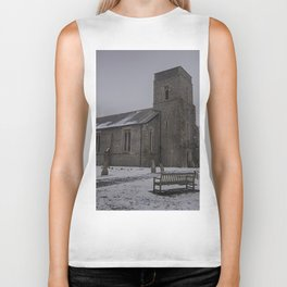 Dunkirk Church In Winter Biker Tank