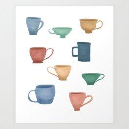 Colorful Tea Cups and Coffee Mugs Art Print