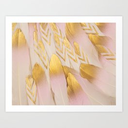 Gold Pink Arrow Feathers Art Print