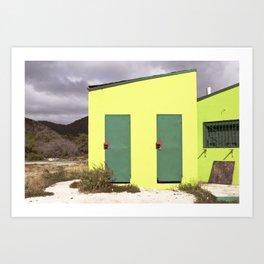 Lime green Caribbean building Art Print