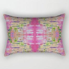 Joyful Pink Geometric Pattern Watercolor Tapestry Rectangular Pillow
