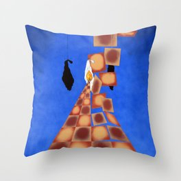 Disrupted Egg Path On Blue Throw Pillow
