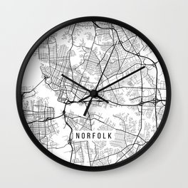 Norfolk Map, USA - Black and White Wall Clock