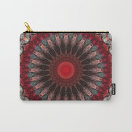 Ornamented mandala in red and gray tones Carry-All Pouch