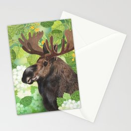 A beautiful moose in green Stationery Cards