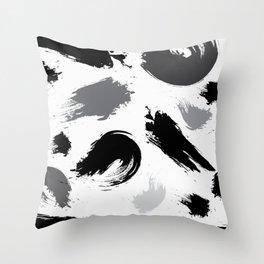 Shrimp and Squid Black & White Brush Painting Throw Pillow