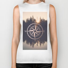 Rose Gold Compass Forest Biker Tank