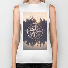 Rose Gold Compass Forest Biker Tank