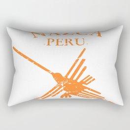 Orange Nazca Lines Hummingbird Distressed Rectangular Pillow