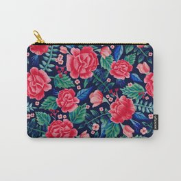 Red Roses with Green & Blue Leaves - Floral Pattern Carry-All Pouch