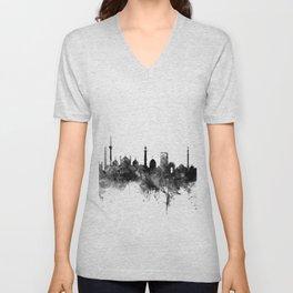 New Delhi India Skyline Unisex V-Neck