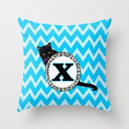 Letter X Cat Monogram Throw Pillow