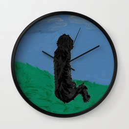 shaggy poodle Wall Clock