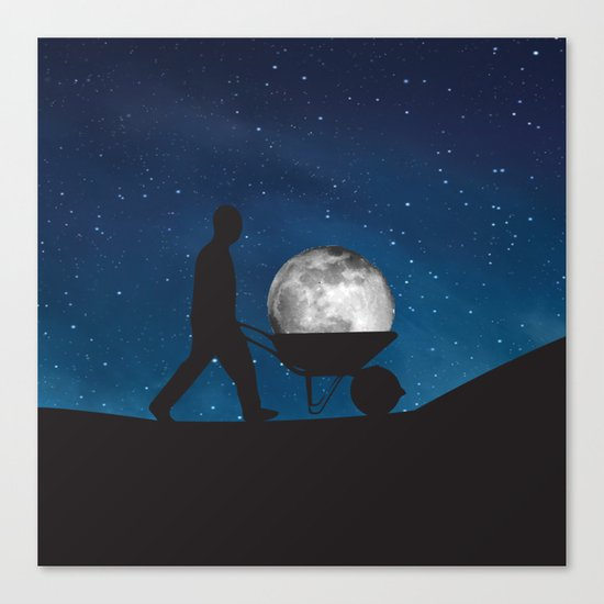 Moon In Wheelbarrow Canvas Print