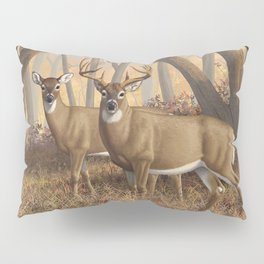 Whitetail Deer Trophy Buck and Doe in Autumn Pillow Sham