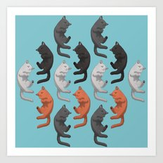 Sleeping Cats Pattern Art Print