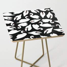 White Swans on Black seamless pattern Side Table