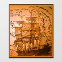 pirate ship Canvas Prints featuring pirate ship by Vector Art