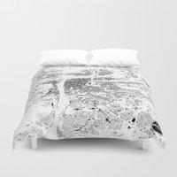 prague Duvet Covers featuring PRAGUE by Maps Factory