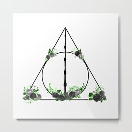 Deathly Hallows in Green and Gray Metal Print