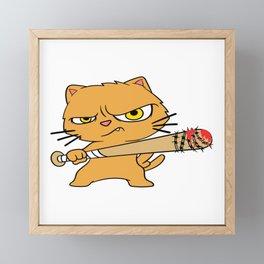 Baseball Bat Cute Feline Feral Meow Pet Animals Kitten Kittie Feline Claw Claws T-shirt Design Framed Mini Art Print