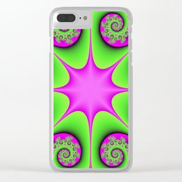 Kaleidoscope in Green and Pink Clear iPhone Case