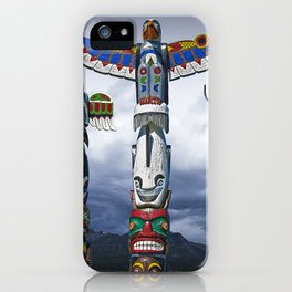 Colorful Totem Poles in the Northwest iPhone Case