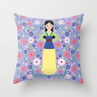 mulan Throw Pillows featuring Mulan by Carly Watts