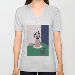 Still Life with Apple, Lavender Flowers and Cup Unisex V-Neck