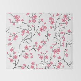 Cherry Blossom in Spring Throw Blanket