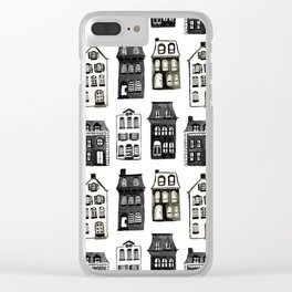 Mansard Mansions in Black + White Watercolor Clear iPhone Case