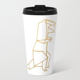 Dinosaur Origami (gold) Travel Mug