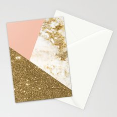 Gold marble collage Stationery Cards