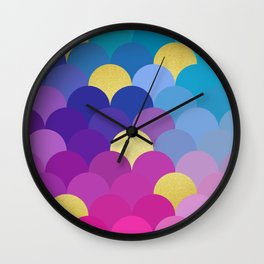Golden and colorful spheres VI Wall Clock