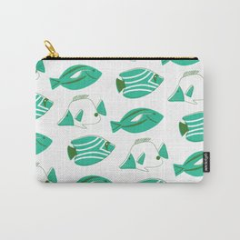 Midcentury Fish - Turquoise and Evergreen Carry-All Pouch